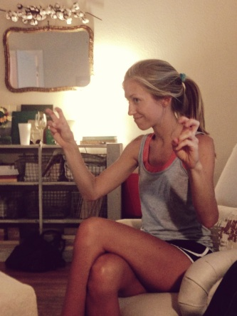"""Kate doing her hand quotations while describing an experience with a """"natural"""" product that turned out to be not so natural."""