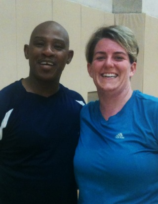Katie and her trainer, Wayne after a workout.