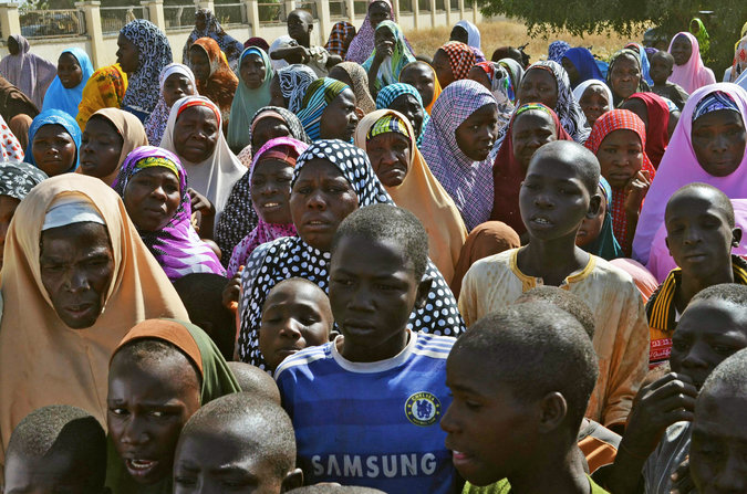 Mothers and relatives of kidnapped schoolgirls in northern Nigeria gathered late last month. Credit Afolabi Sotunde/Reuters